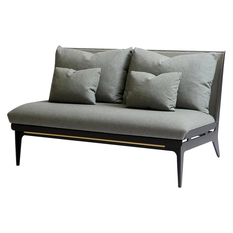 For Sale: Gray (Sophie-Gray) Boudoir Loveseat with Leather Back and Satin Brass Hardware by Gabriel Scott