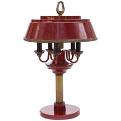 Bouillotte Table Lamp, Brass, Red Lacquered, France
