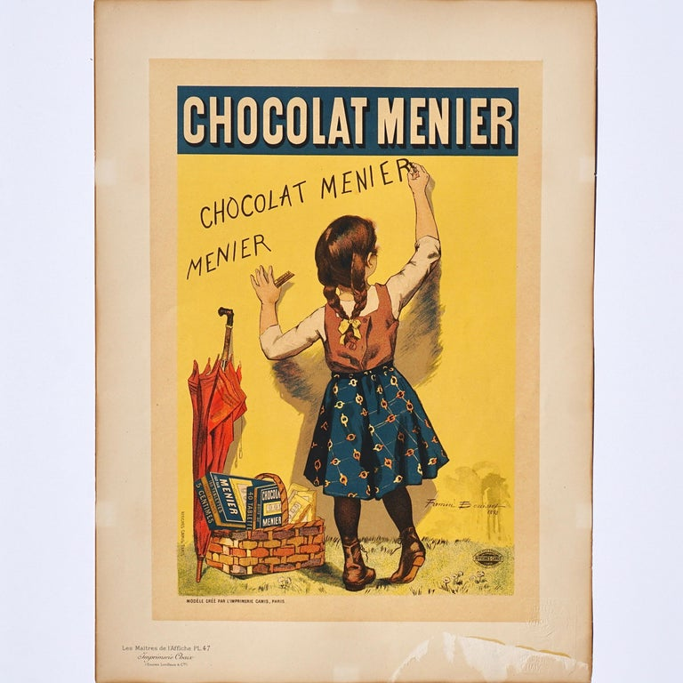 Artist: Firmin Bouisset French (1859-1925) Title: Chocolat Menier Original stone Lithograph on vélin paper 1895 Size : 15.75 x 11.5 in. / 39,5 x 29 cm Framed: 17 X 12.75 inches Printed by : Chaix 1895  In good condition (B) crisp colors, There is