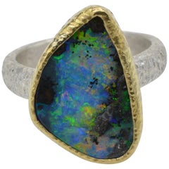 Boulder Australian Opal 14 Karat Yellow Gold and Sterling Silver Band