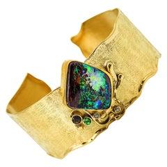 Boulder Opal 22k 18k Gold Cuff Bracelet Diamond Tsavorite Garnet Andalusite