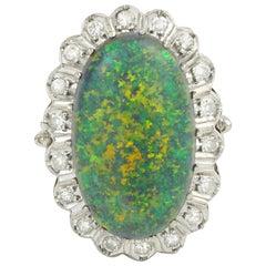 Boulder Opal And Diamonds 14 Karat White Gold Ring