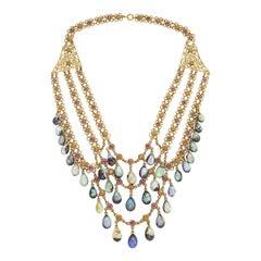 Boulder Opal and Multicolored Garnet Necklace