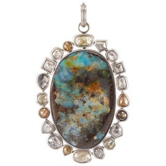 Sylva & Cie Large Boulder Opal and Rough Cut Diamond Pendant in 18k White Gold