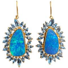 Boulder Opal, Aquamarine, 18 Karat Gold Earrings by Lauren Harper