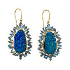Boulder Opal, Aquamarine and 18kt Gold Lauren Harper Earrings