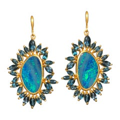 Boulder Opal Blue Topaz Gold Earrings by Lauren Harper