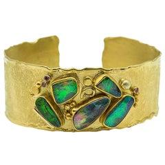 Boulder Opal Cuff Bracelet Sapphire 22 Karat 18 Karat