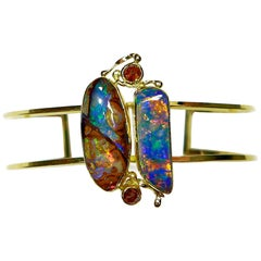 Boulder Opal Cuff Bracelet with Rose Cut Diamonds in 22 Karat and 18 Karat Gold