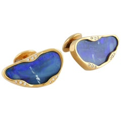 Boulder Opal Cufflinks with White Diamonds, Yellow Gold