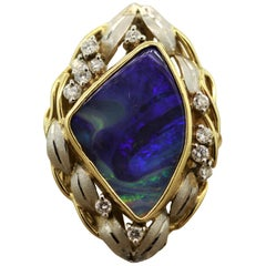 Boulder Opal Diamond Platinum Gold Ring