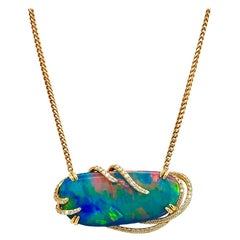 Boulder Opal Doublet and Diamond 18 Karat Yellow Gold Necklace