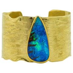 Boulder Opal Gold Cuff Bracelet 22 Karat Gold 18 Karat Gold Textured