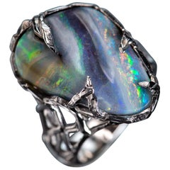 Boulder Opal White Gold Ring Unisex Christmas Gift birthstone Mens ring Blue gem