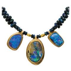 Boulder Opal Necklace Black Opal Beaded 22 Karat Gold 18 Karat Gold