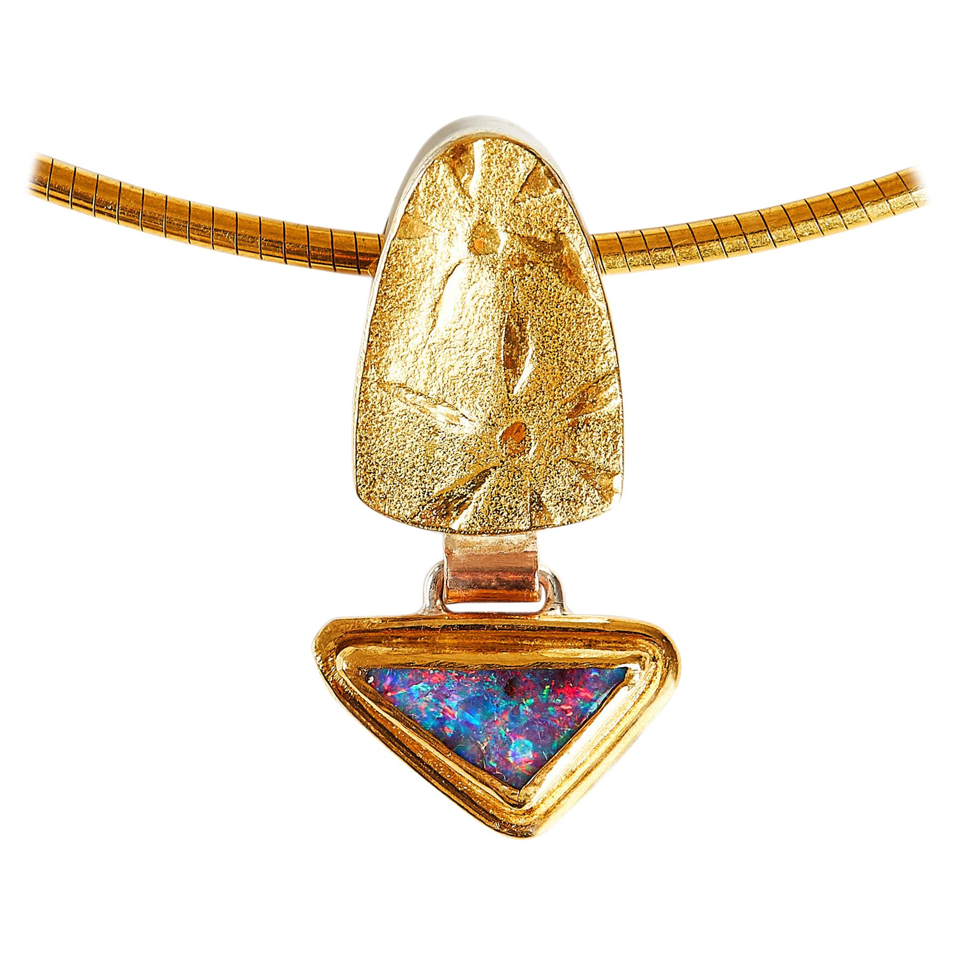 Boulder Opal Pendant with 22 Karat Yellow Gold and Silver