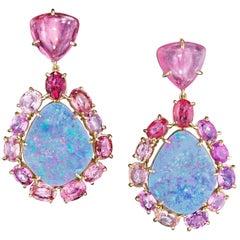 18 Karat Yellow Gold Boulder Opal Pink Sapphire Pink Tourmaline Drop Earrings