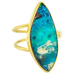 Boulder Opal Ring 22 Karat Gold 18 Karat Gold Aqua Flash