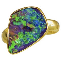 Boulder Opal Ring 22 Karat Gold 18 Karat Gold Band Green Blue Fire