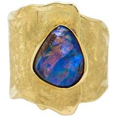 Boulder Opal Ring 22 Karat Gold 18 Karat Gold