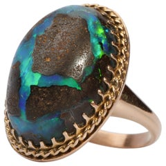 Boulder Opal Ring circa 1940s Unisex