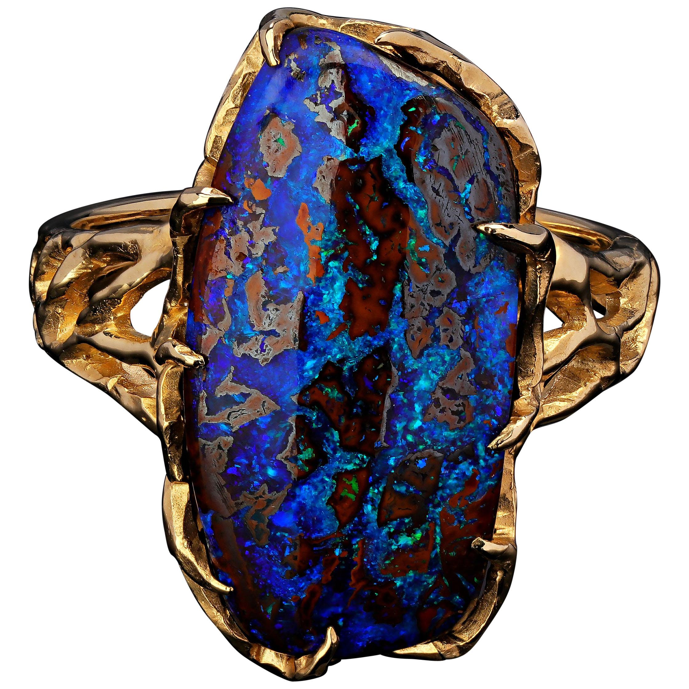 Boulder Opal Ring Gold 14K Gemstone Unisex Jewelry Christmas Gift Mens Bold Ring