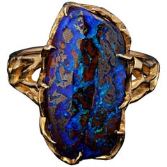Boulder Opal Ring Gold 14K Gemstone Unisex Jewelry Christmas Gift Mens Bold Ring