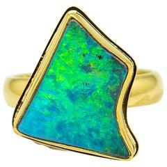 Boulder Opal Ring Green Fire 22 Karat Gold 18 Karat Gold size 7.5