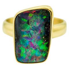 Boulder Opal Ring in 22 Karat Gold Bezel 18 Karat Gold Shank