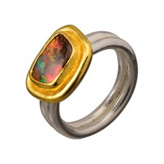 Boulder Opal Ring in 22 Karat Yellow Gold and Silver