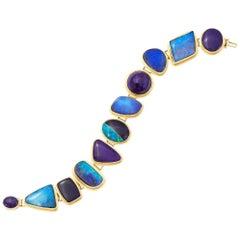 Boulder Opal, Sugalite and Gold Bracelet