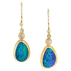 Boulder Opal with .06 Carat Diamonds, 18 Karat Yellow Gold Drop Earrings