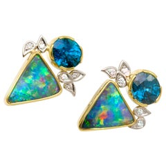 Boulder Opal with 10.4 Ctw Blue Zircon and .20 Ctw Diamonds set in 18K, Platinum