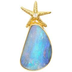 Boulder Opal with Diamond Starfish Pendant