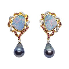 Boulder Opal with Ruby, Diamond and South Sea Pearl Earrings in 18 Karat Gold