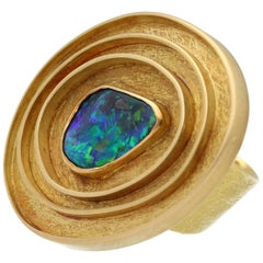 Boulder Opal Yellow Gold Majoral Mediterranean Jewellery Fashion Ring