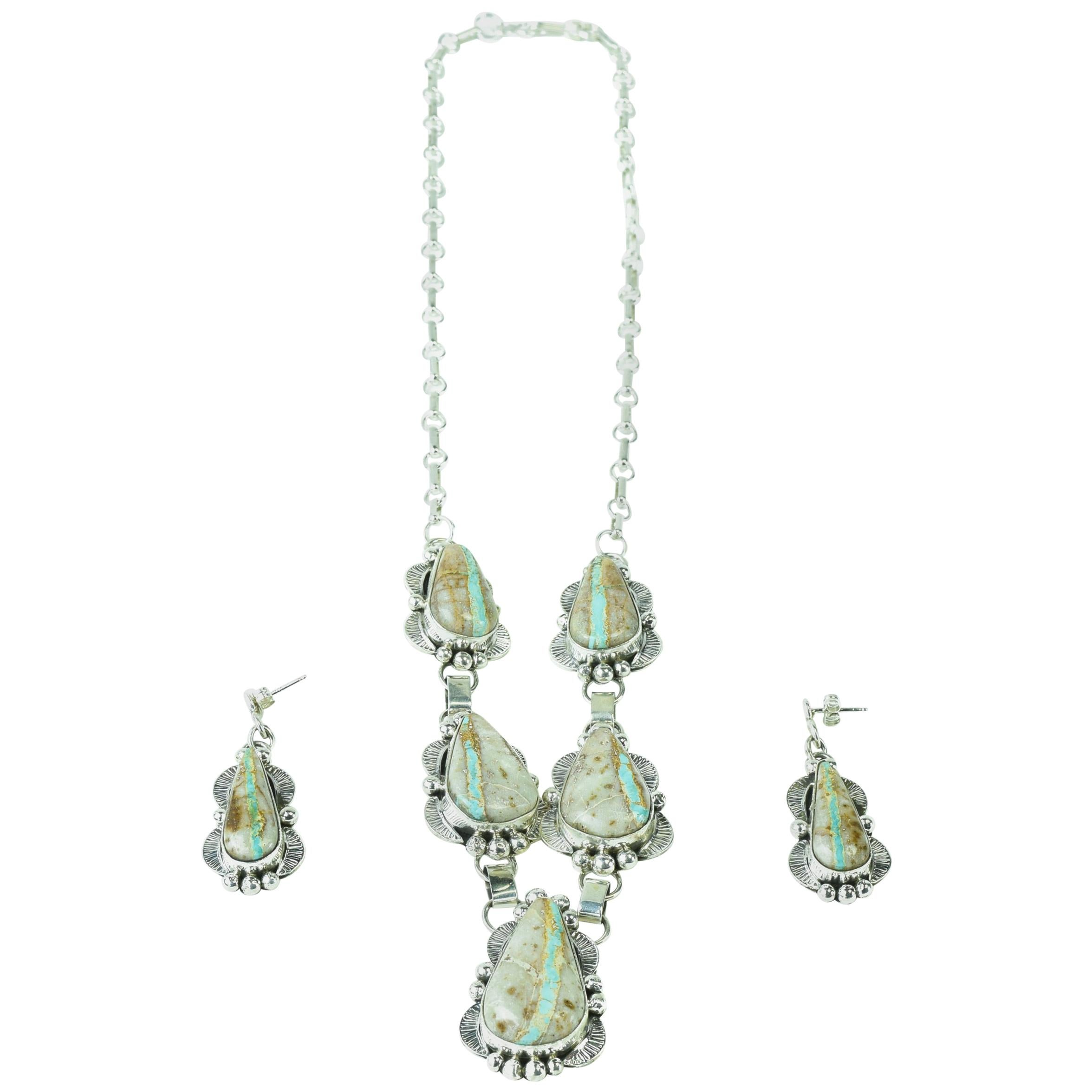 Beautiful Boulder Ribbon Turquoise Necklace and Earrings