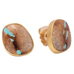 Boulder Turquoise Stud Earrings in 22 Karat Gold
