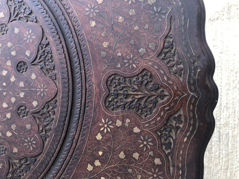 Boule Inlaid Centre, End, Lamp or Card Table, Wood Hand Carved and Brass Inlay For Sale 7