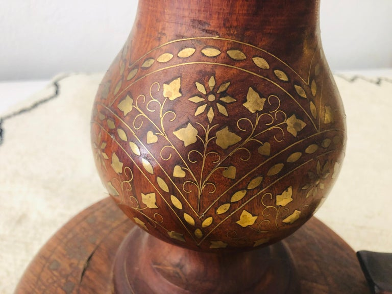 Late 20th Century Boule Inlaid Centre, End, Lamp or Card Table, Wood Hand Carved and Brass Inlay For Sale
