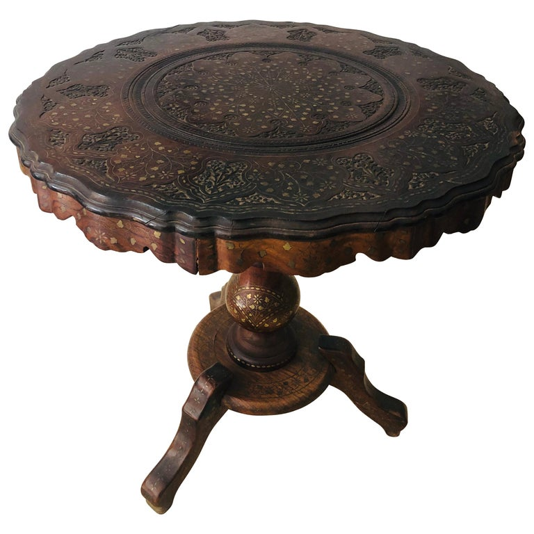Boule Inlaid Centre, End, Lamp or Card Table, Wood Hand Carved and Brass Inlay For Sale