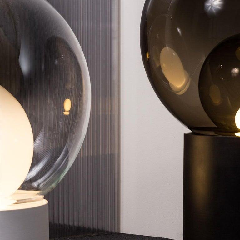 Minimalist Boule, Table Light, Medium, Transparent, European, Black, Minimal, 21st Century For Sale