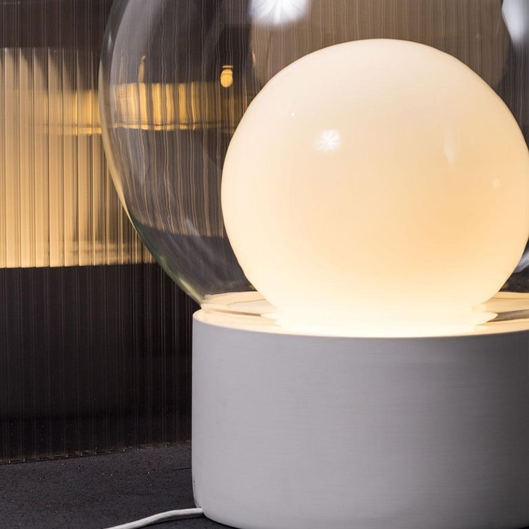 German Boule, Table Light, Medium, Transparent, European, Black, Minimal, 21st Century For Sale