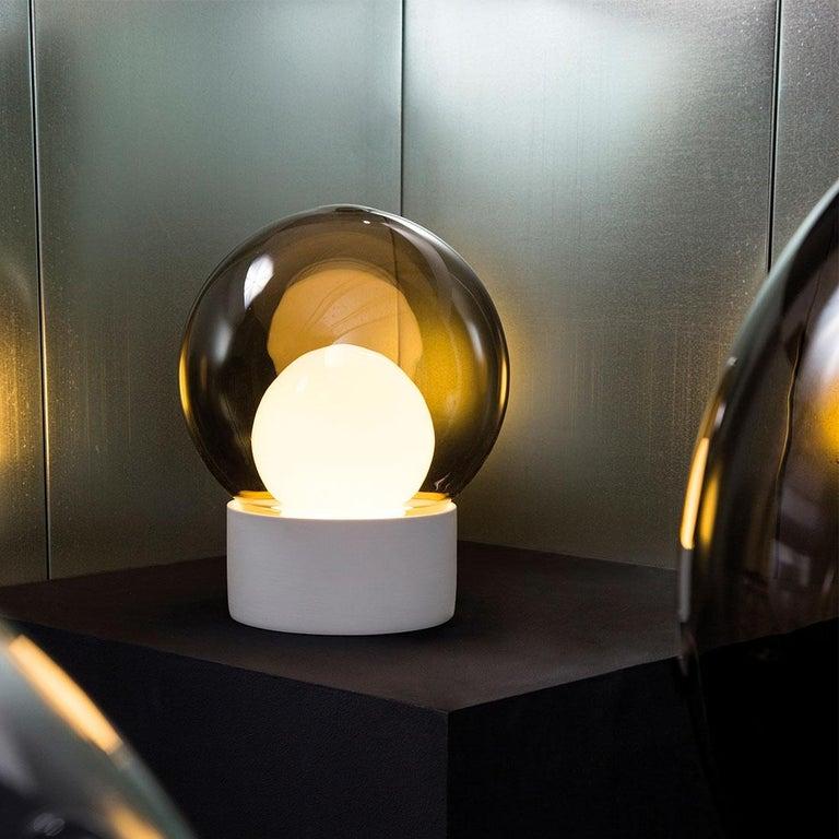 Hand-Crafted Boule, Table Light, Medium, Transparent, European, Black, Minimal, 21st Century For Sale