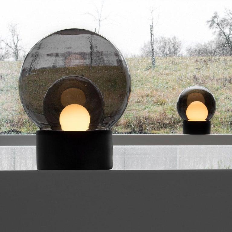 Contemporary Boule, Table Light, Medium, Transparent, European, Black, Minimal, 21st Century For Sale