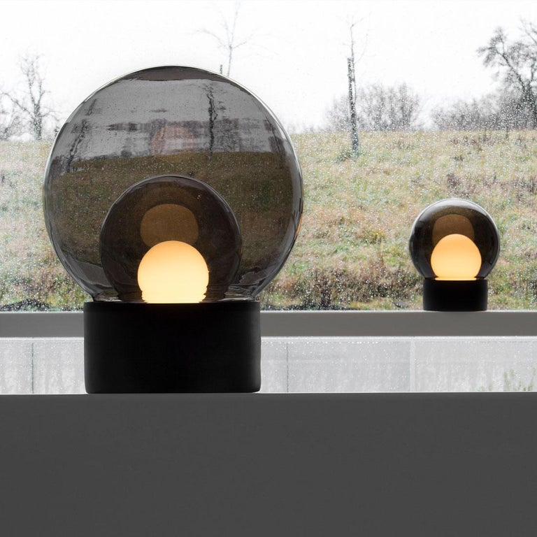 Contemporary Boule, Table Light, Small, Transparent, European, Black, Minimal, 21st Century For Sale