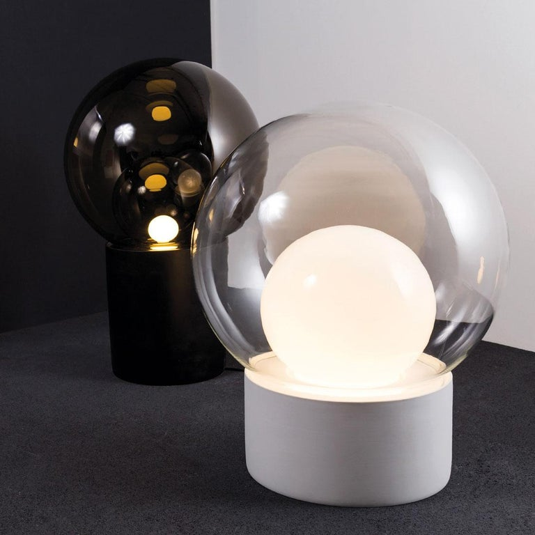 Blown Glass Boule, Table Light, Small, Transparent, European, Black, Minimal, 21st Century For Sale