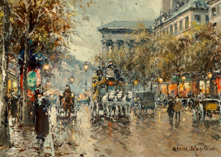 Antoine Blanchard (French, 1910-1988) Boulevard de la Madeleine Oil on canvas Measures: 18 x 21 inches (45.7 x 53.3 cm) Framed: 24 X 27.5 Inches Signed lower right: Antoine Blanchard  This magnificent painting is not the standard 13x18 inches that