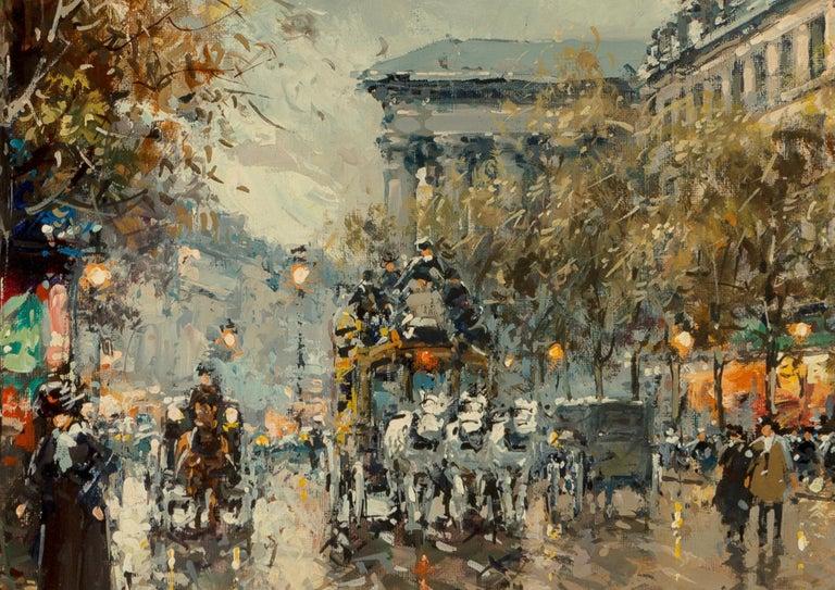 "French Antoine Blanchard ""Boulevard De La Madeleine"" 18x21 For Sale"