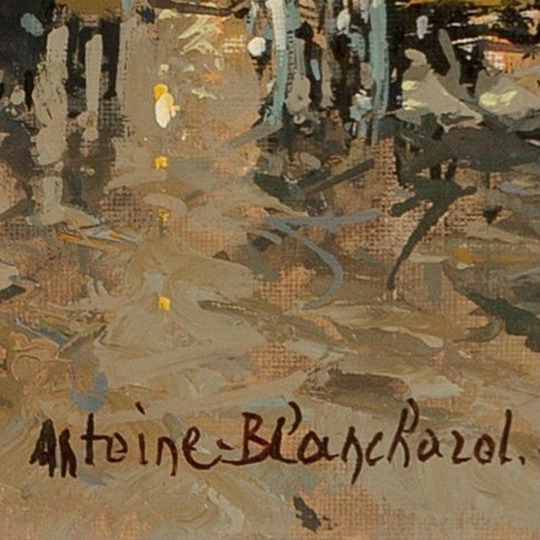 "Hand-Painted Antoine Blanchard ""Boulevard De La Madeleine"" 18x21 For Sale"